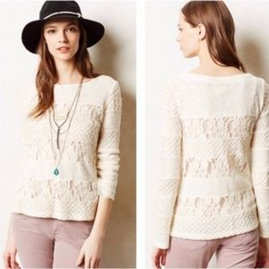 ANTHRO Meadow Rue Ivory Lace Pullover Sweater